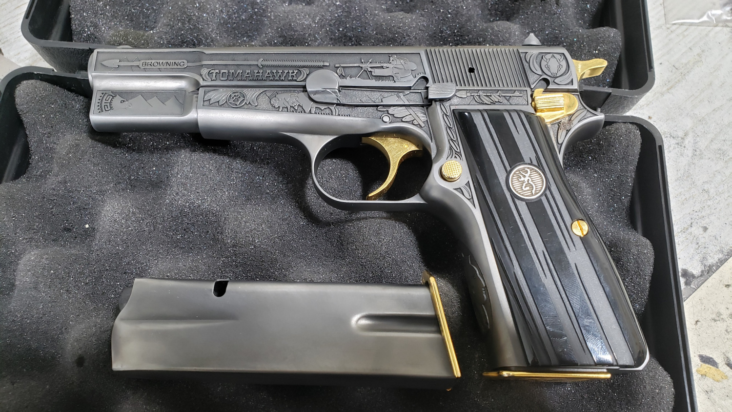 "Browning High Power decorated by the gunsmiths of ""Glock"" shop in Erbil"