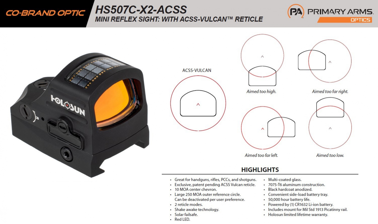 This product fact sheet illustrates the concept behind the chevron/ring combo reticle.