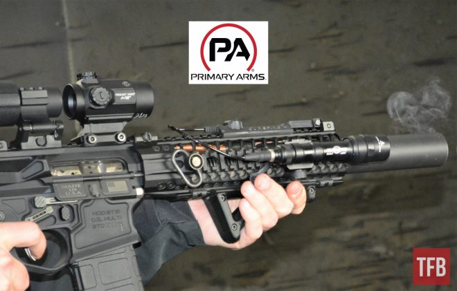 Primary Arms came to GunFest with three of their newest optics, including the MD-25 red dot pictured here.