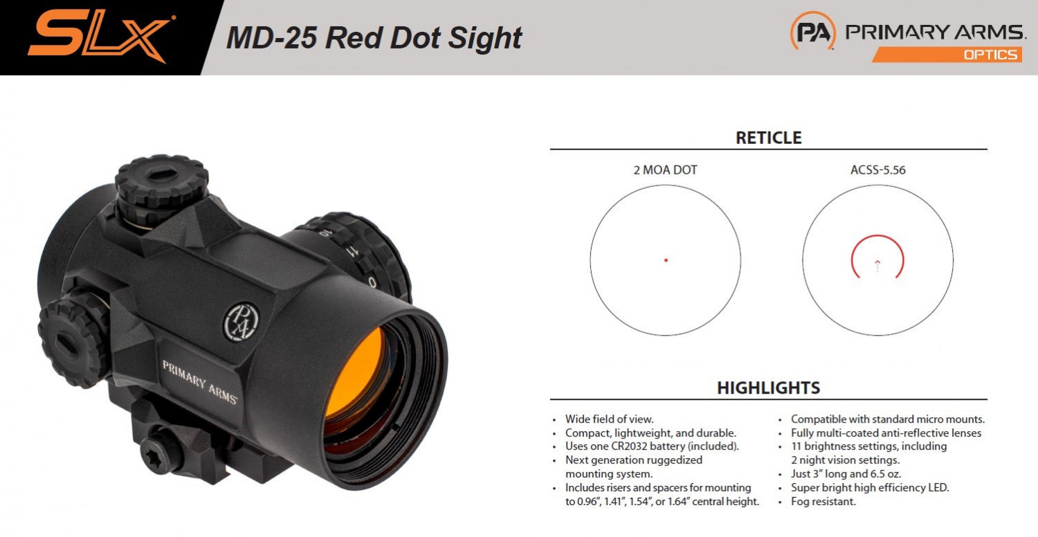 The fact sheet shows the difference with the new reticle option, shown on the right.