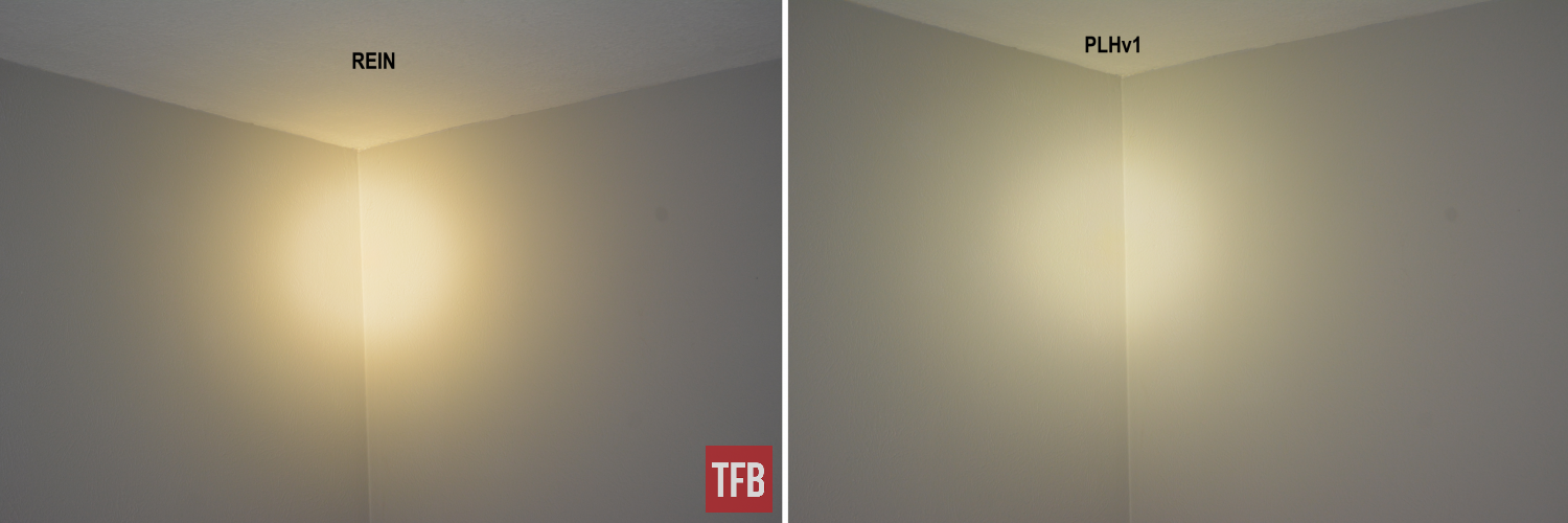 This close-range indoor comparison better highlights the difference between the REIN's warmer light color temperature, versus my Modlite's cooler, more bluish/whitish hue. These were taken in a fully blacked-out room with no other lighting.