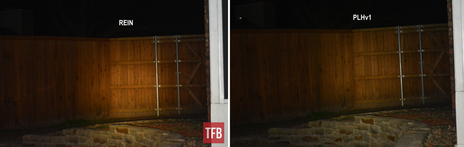 An outdoor comparison shot, taken from about 50 feet away with suburban ambient nighttime lighting. To my eye, the REIN slightly edged out my v1 Modlite PLH on brightness and throw as you started to get further out, past CQB distances.
