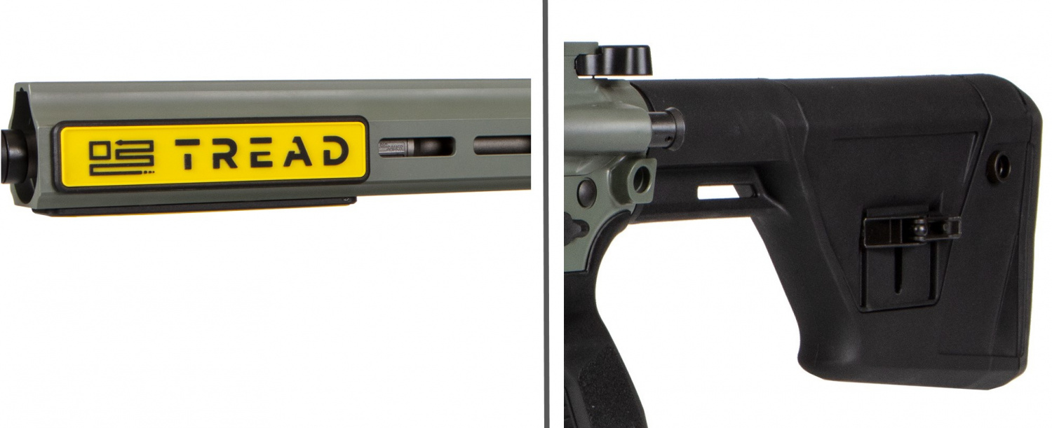 A closer look at a couple of the Predator model's features: the all-M-LOK handguard and the precision-adjustable stock.