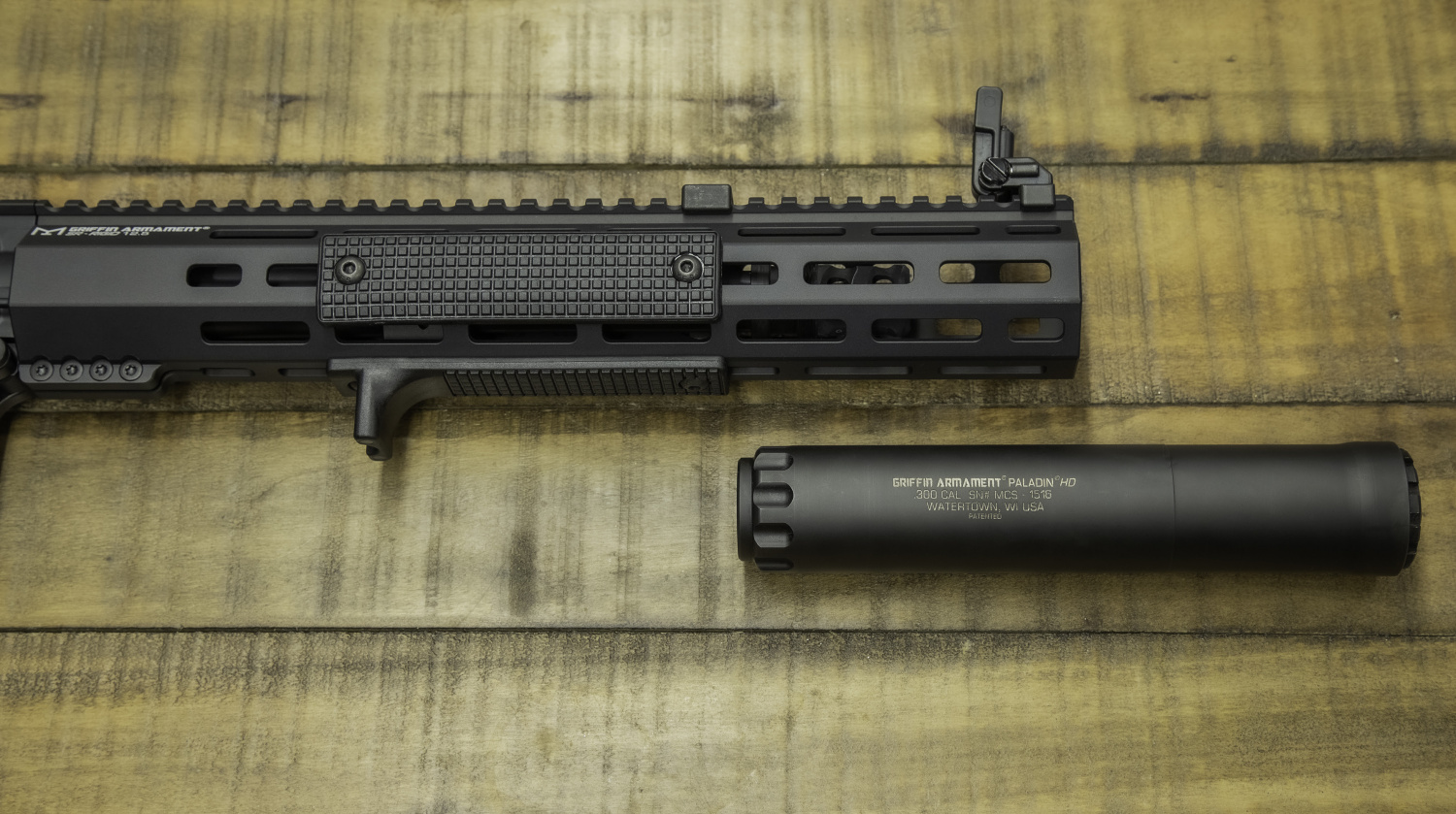 "Griffin's new rails are intended to fit suppressors of up to 1.5"" diameter inside of them, for those who want a bit of extension on their rail space."