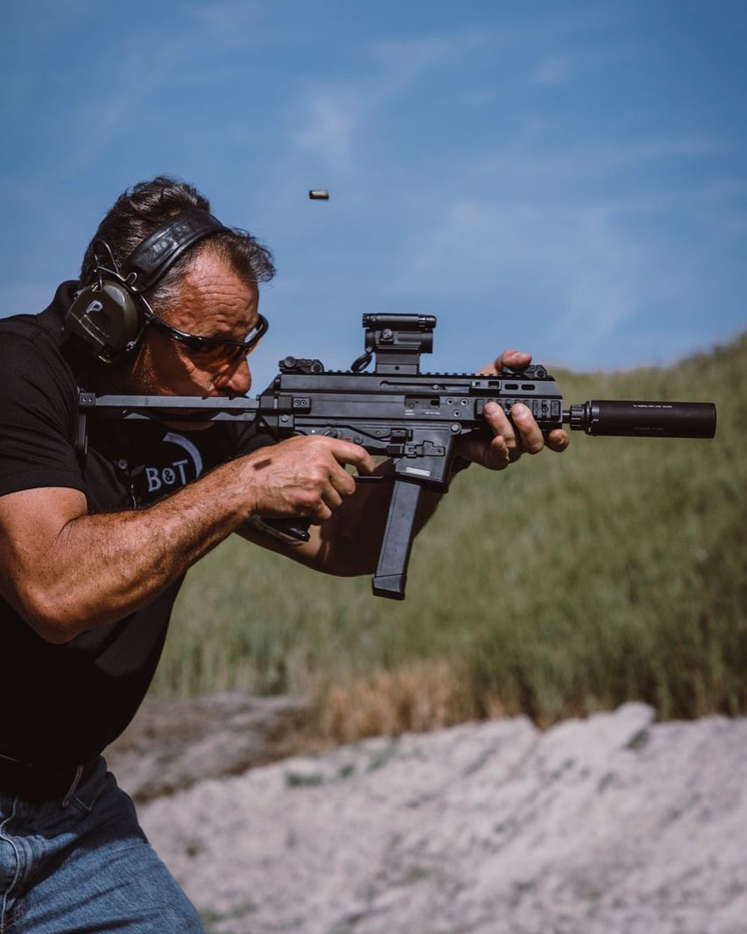 Pannone putting rounds downrange with the APC9-G.