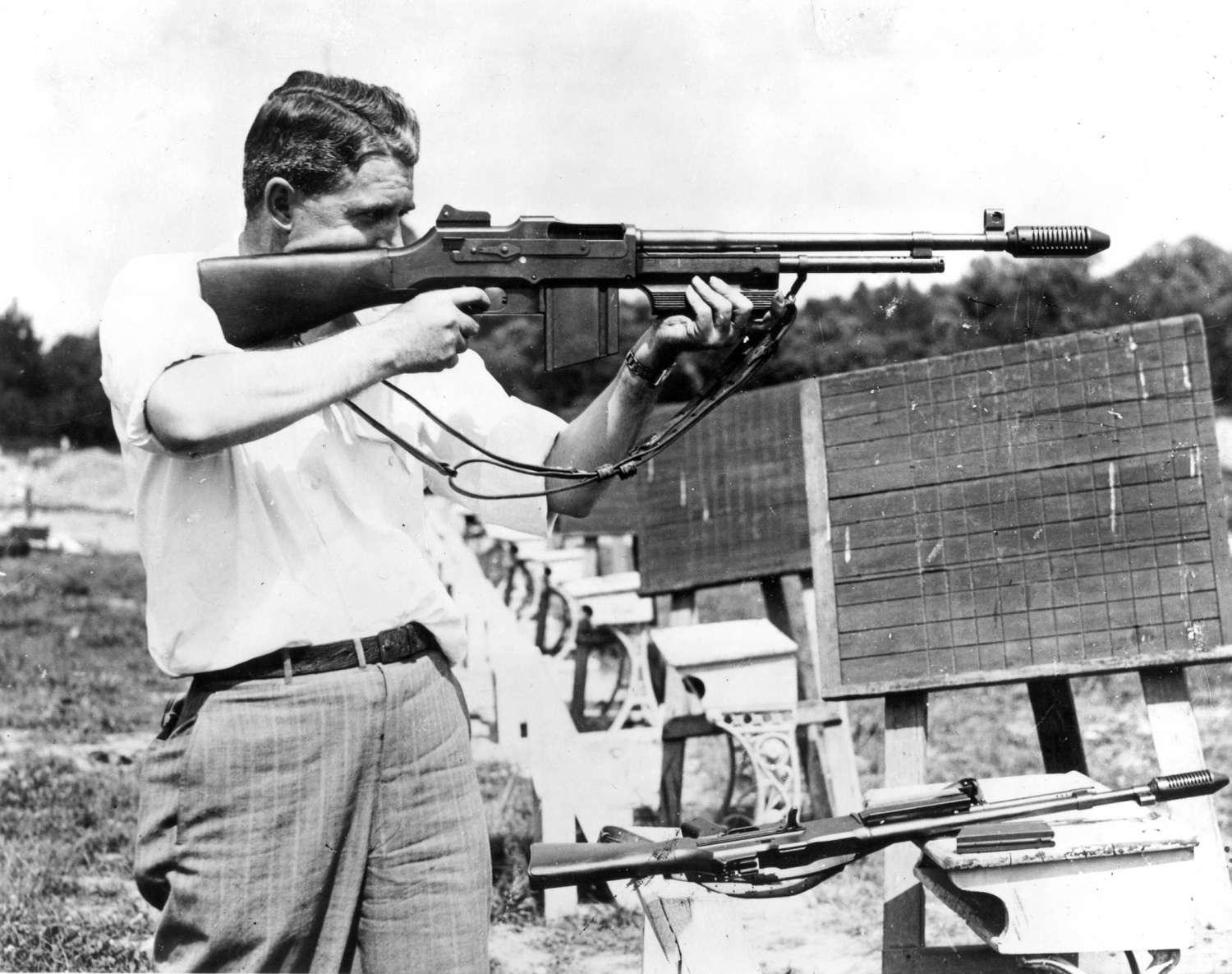 An FBI Agent trains with a Colt Monitor in 1936. Photo by the Federal Bureau of Investigation.