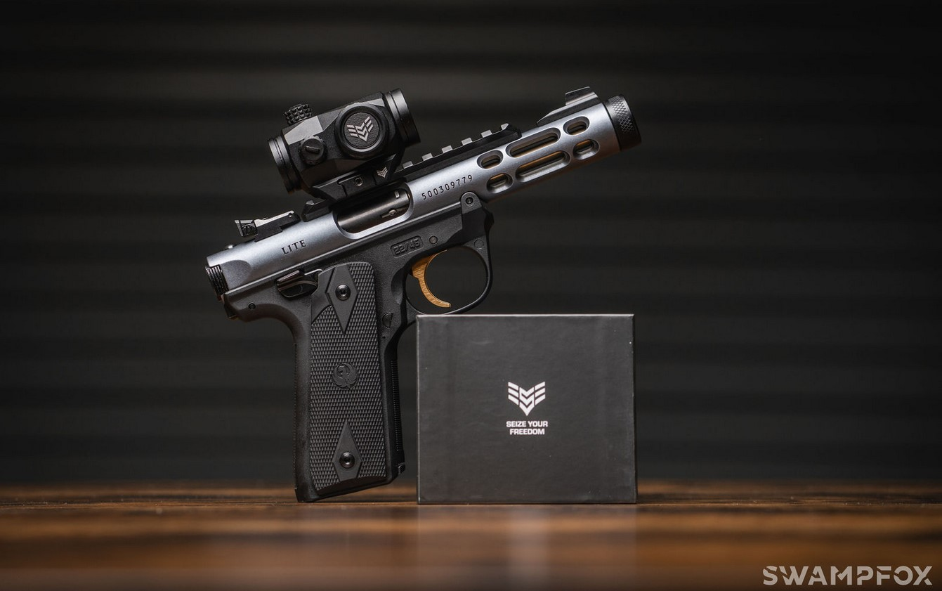 The Liberator II uses a 2MOA red dot reticle that should last about 10,000 hours with its Shake 'n Wake feature and CR2032 battery.