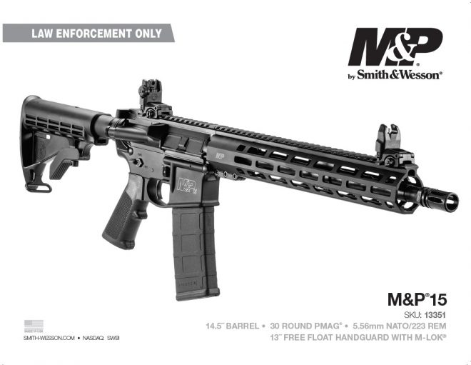 """Smith & Wesson is offering a new SBR to those eligible for their """"America's Guardians"""" military veteran/LEO/first responder program."""