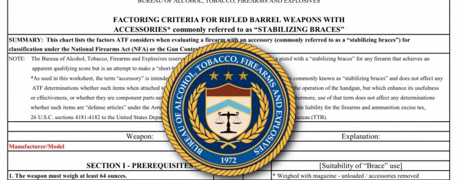 ATF: Factoring Criteria for Firearms with Attached Stabilizing Braces
