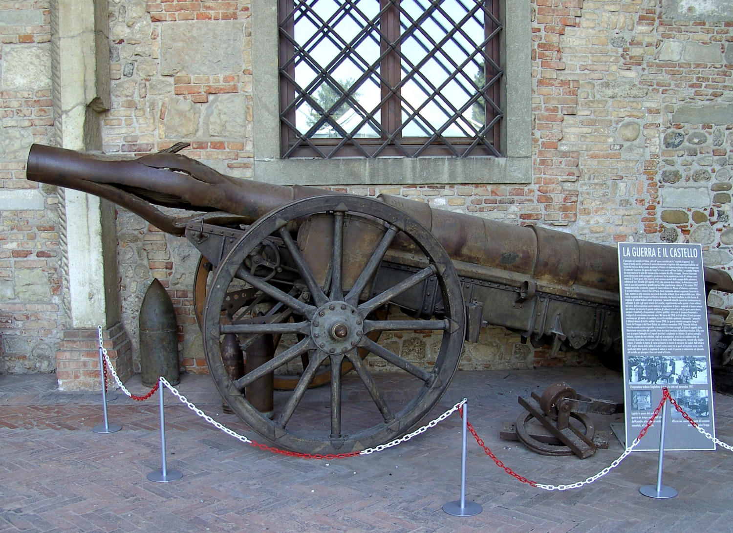 This photo shows what can happen to an Italian Krupp-canon that has experienced a squib load, and similar damage can occur in modern hand-held firearms as well.
