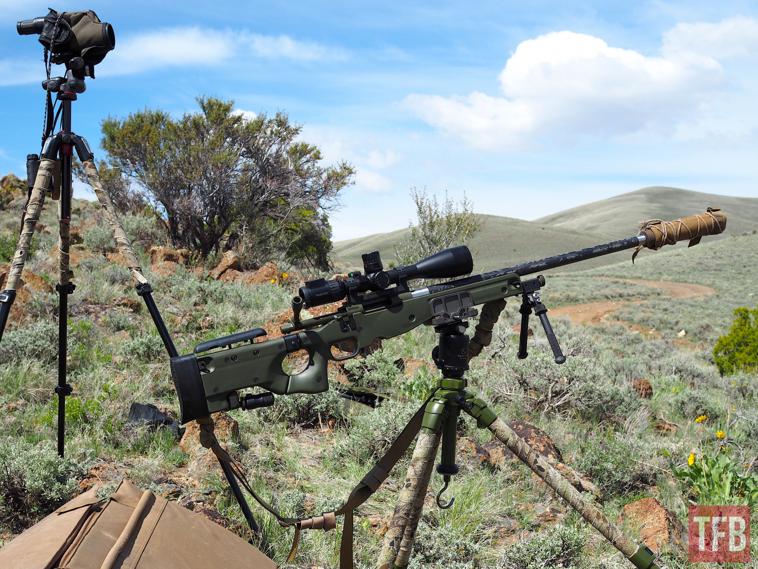 Rifle set up for seated tripod supported shooting