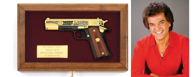 Don't adjust your TV sets, kids: there really is a Conway Twitty Tribute Pistol, as seen here in its optional display case.