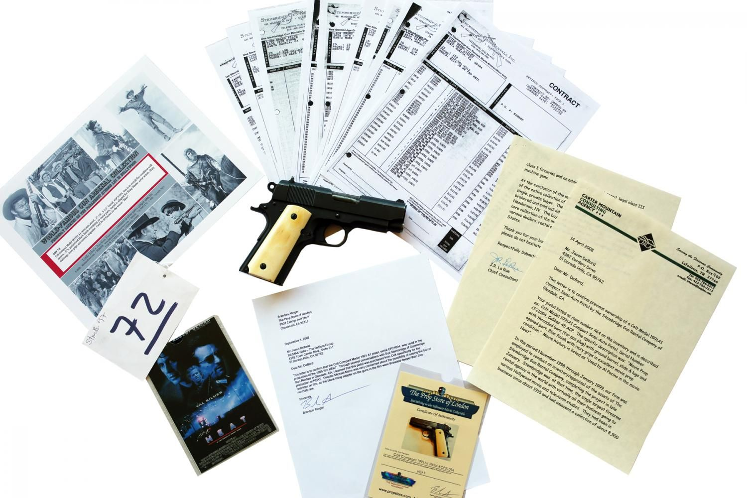 This prop gun comes with a significant amount of documentation certifying it as the real screen-used firearm.