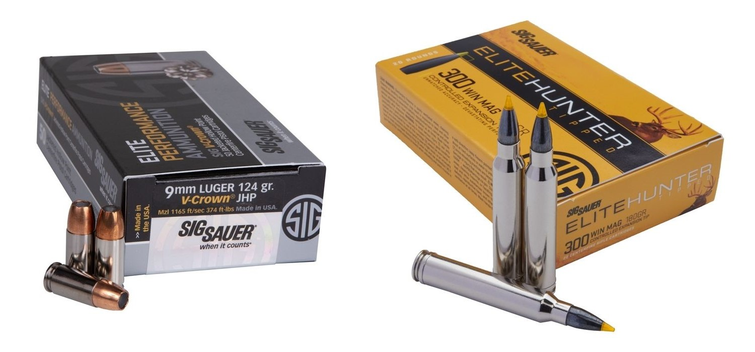 SIG makes a plethora of different ammo types and calibers, like the 9mm and 300 Win Mag variants shown here.