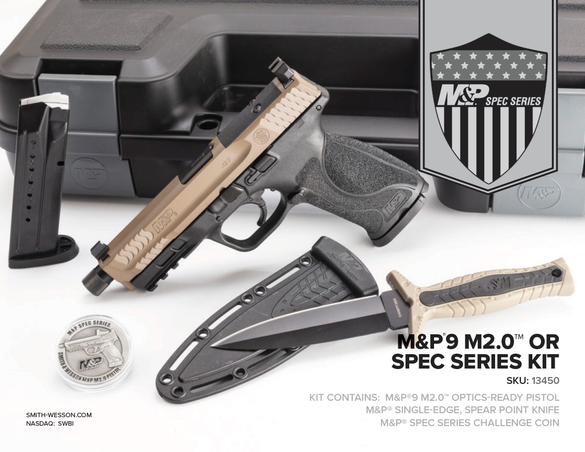 This special-edition M&P package will ship with a matching fixed-blade knife and challenge coin, for collectors interested in the whole setup.