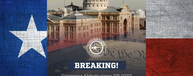 Constitutional Carry in Texas has been signed into law, as celebrated by the Texas Gun Rights' social media announcement from June 16th, shown here.