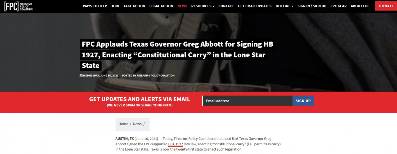 The Firearms Policy Coalition is widely considered to be one of the best pro-2A advocacy organizations in the US, and they joined in Texas' June 16th celebrations with their own announcement, shown here.