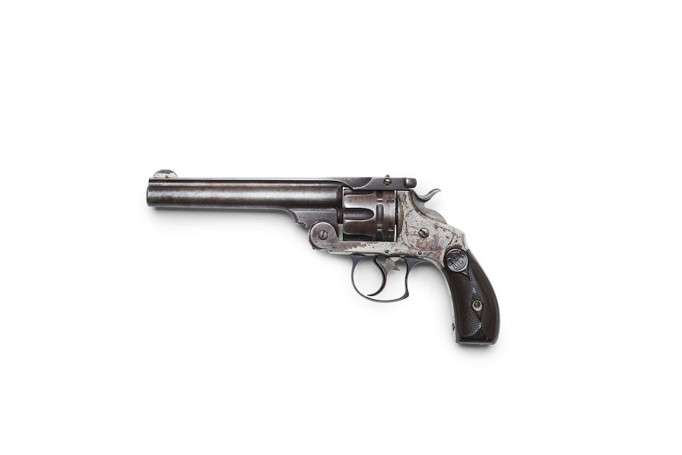 Here's another historic revolver from this auction: the Smith & Wesson carried by outlaw John Wesley Hardin when he was gunned down in El Paso, Texas.