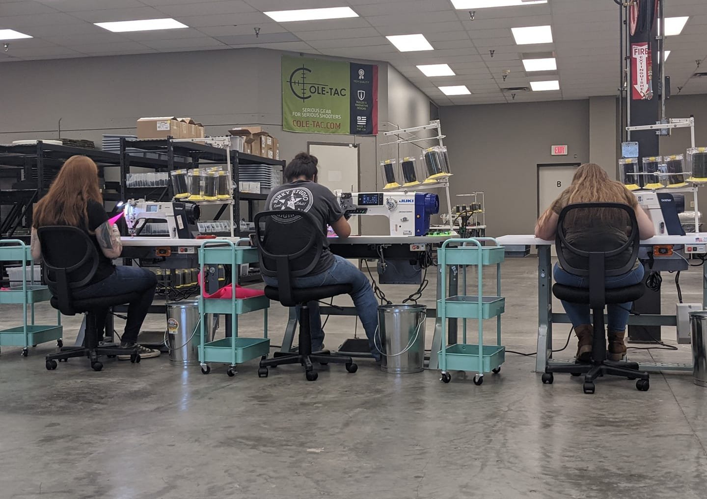 Three of the company's current employees hard at work manufacturing some of Cole-TAC's in-demand product offerings.