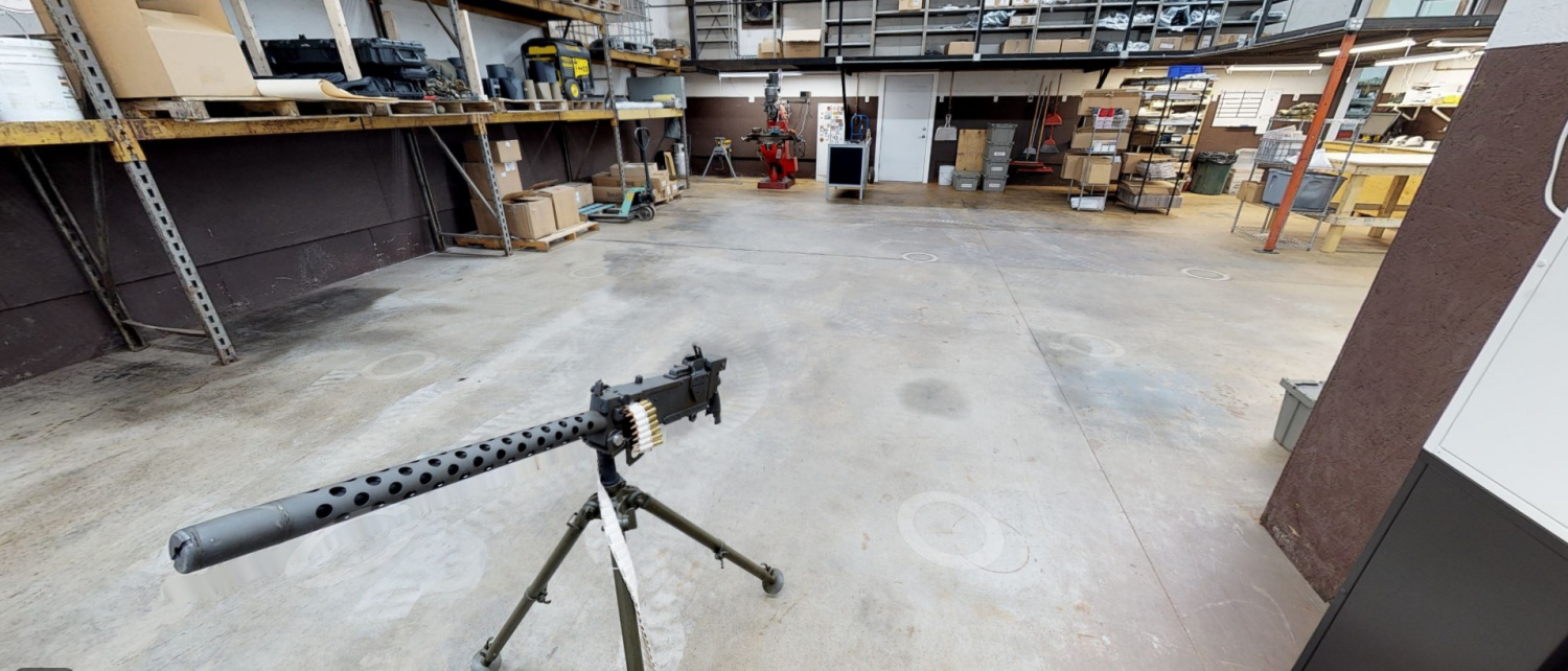 """Can we take a moment to appreciate the fact that a virtual tour of the current shop reveals that it contains a beautiful """"Ma Deuce"""" machine gun?"""