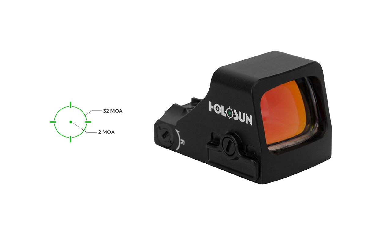 The 507K has been one of Holosun's popular models, and the new green version will use the same 2 MOA dot/32 MOA circle layout as its red-hued predecessor.