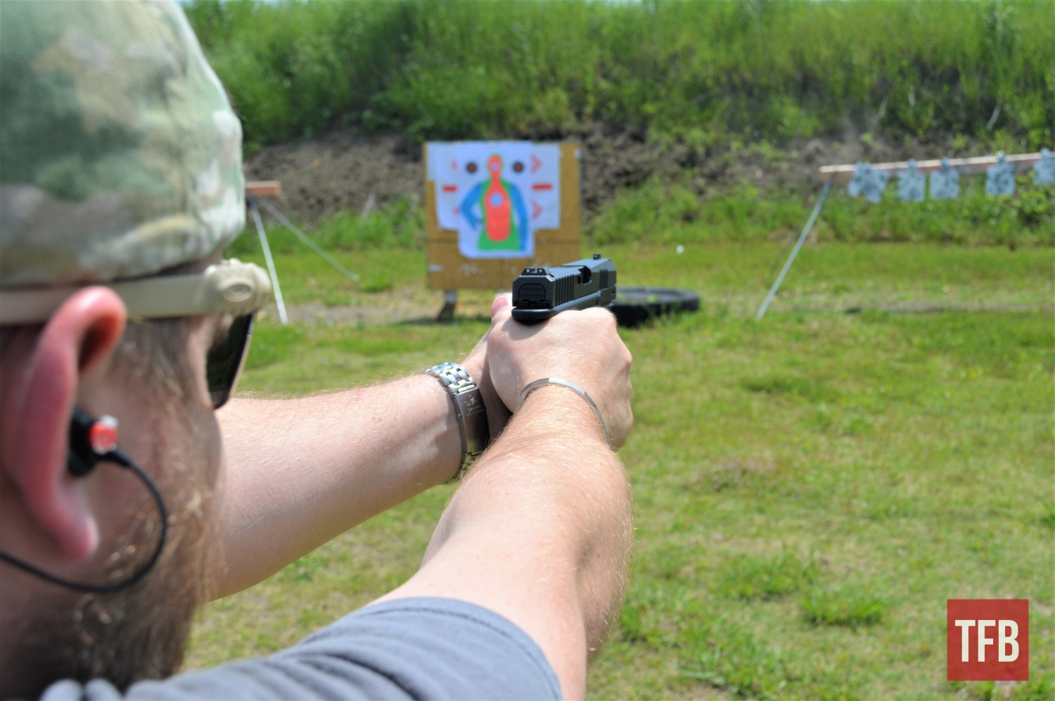Although the trigger took some getting used to, the TM-9 shot smoothly and accurately with rapid reps on steel plates.