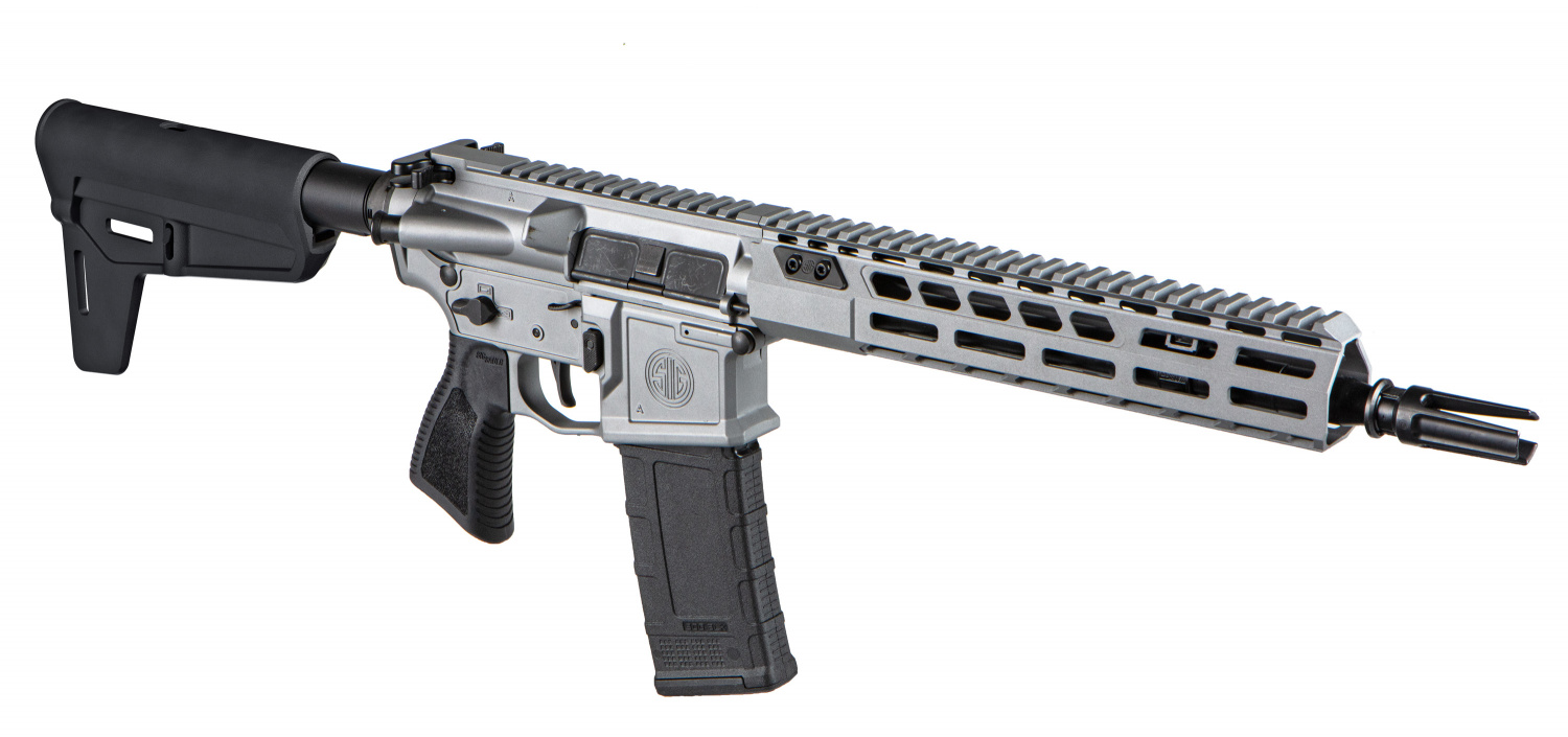 """The Switchblade is an 11.5""""-barrelled AR pistol, equipped with Magpul's new BSL brace and a Cerakote Titanium finish."""