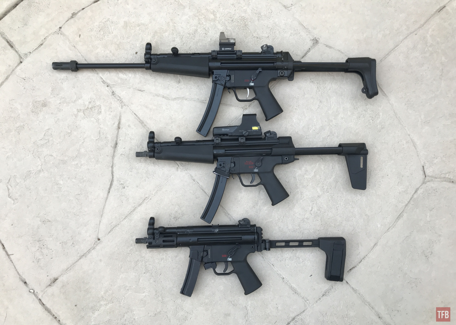 HK SP5L next to SP5 and SP5K PDW