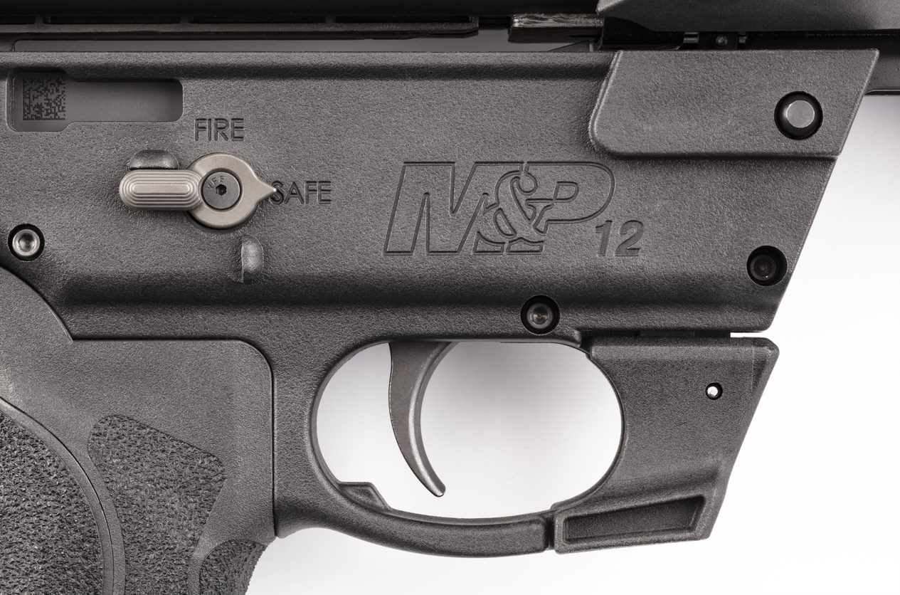 A closer look at the M&P12's fire controls, including its ambidextrous AR-style safety selector switch.