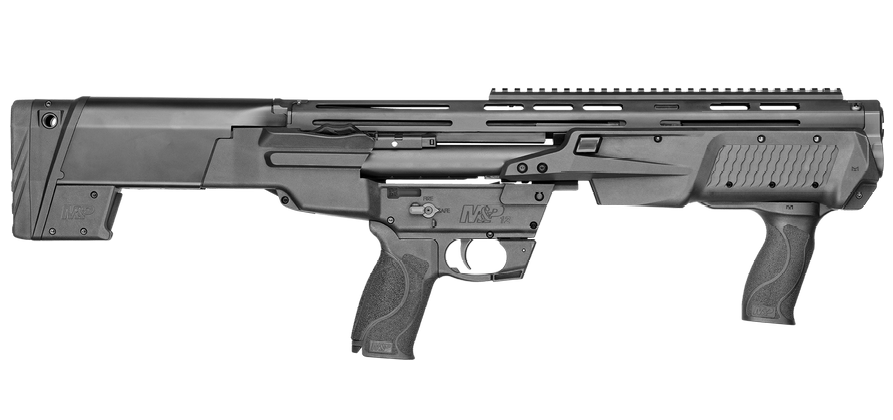 """Smith & Wesson's new bullpup scattergun can hold six or seven rounds (depending on the length of the shell, 2 and 3/4"""" vs 3"""") in each of its two tubular magazines, for a maximum 14 +1 capacity."""