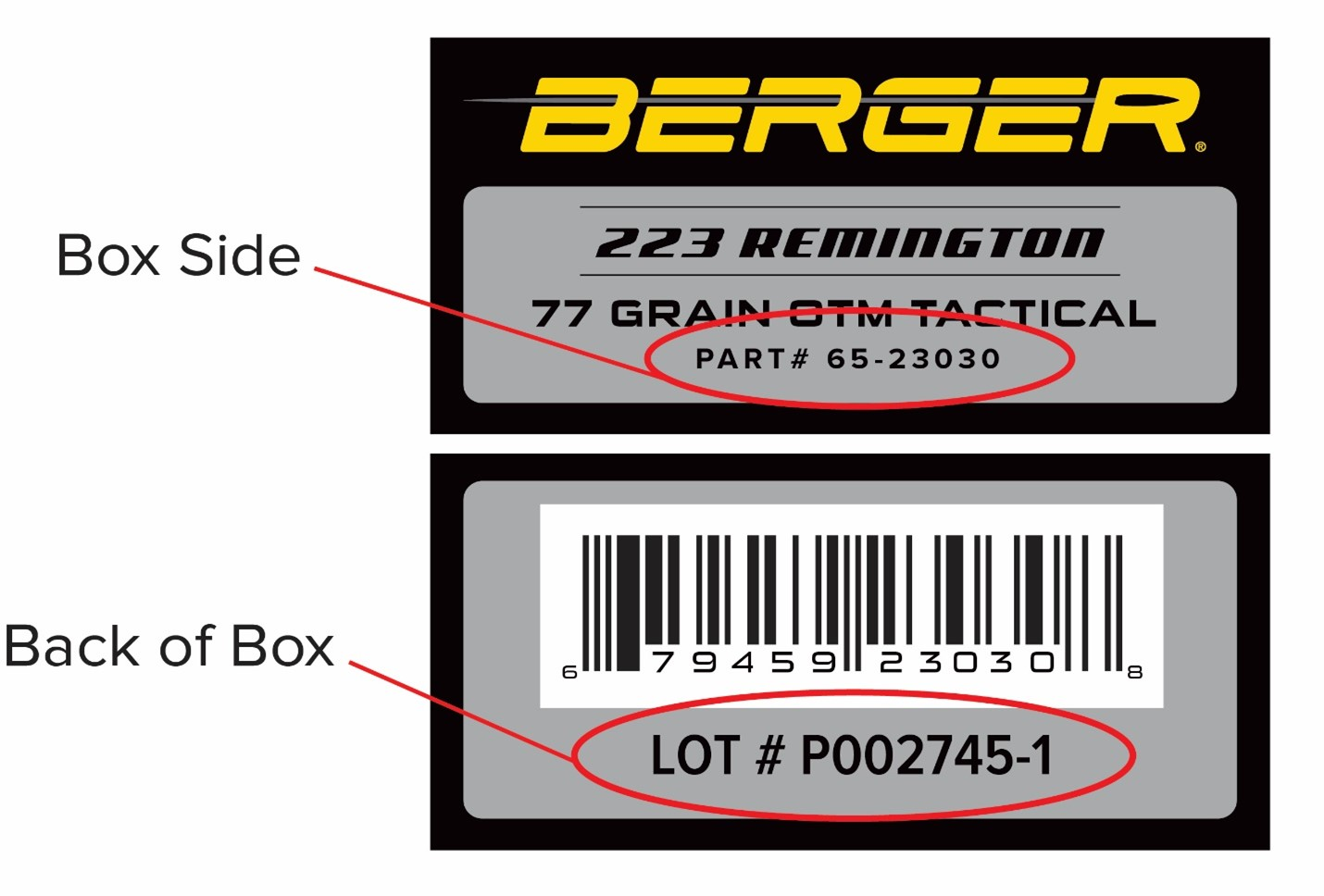 How to find the lot number info printed on the ammo boxes, to determine whether or not any of your 77-grain OTM Tactical ammo may be affected by this recall.
