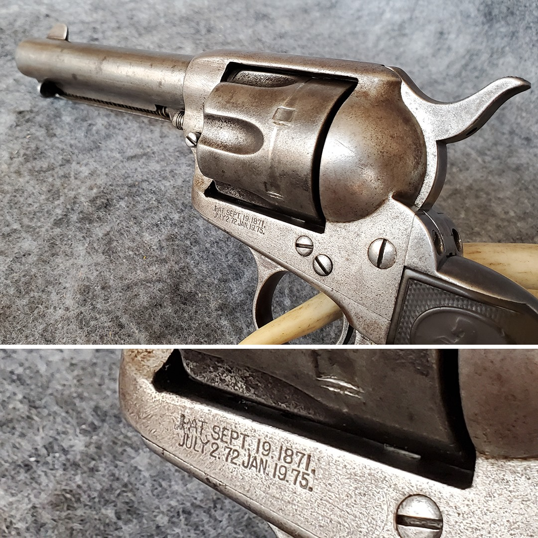The McClelland Gun Shop staff noted that these dates indicate Colt patents from 1871, 1872, and 1875 - which combine with the serial number to support a manufacture year of 1900. This timing fits with a potential Pancho Villa connection.