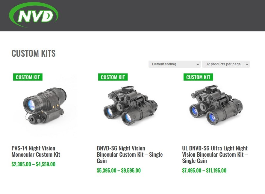 One of NVD's main specialties is customized NVG solutions, including packages with optional extras like helmets, mounts, and IR laser/illuminator devices.