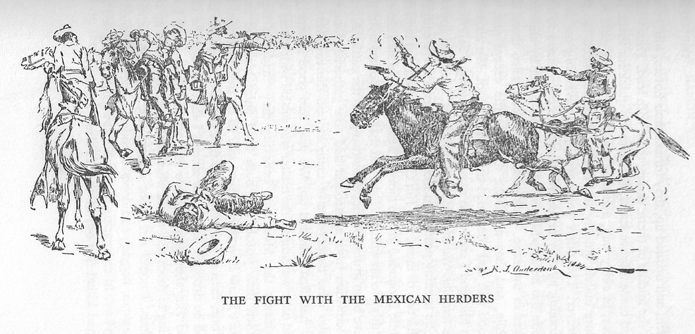 Hardin in a fight with Mexican herders, who had wasted their ammunition inion at 150 yards. Hardin rode in close, and dispatched 5 out of 6 of them. Illustration by R.J. Onderdonk